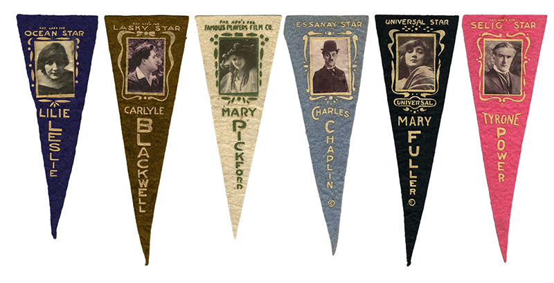 Collection of Silent-Era Movie Star Pennants, Including Charlie Chaplin